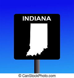 Indiana highway sign - Blank Indiana highway sign on blue...