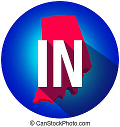 Indiana IN Letters Abbreviation Red 3d State Map Long Shadow Circle