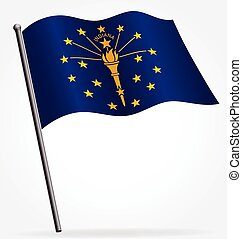 indiana in state flag flying waving on flagpole vector