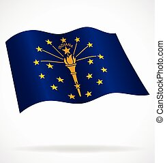 indiana in state flag flying waving vector