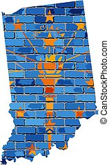 Indiana map on a brick wall - Illustration, The state of ...