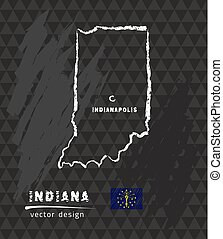 Indiana map, vector pen drawing on black background