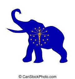 indiana, républicain, drapeau, éléphant