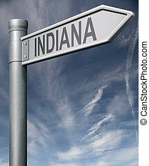 indiana road sign usa states clipping path