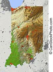 Indiana, shaded relief map - Indiana. Shaded relief map,...