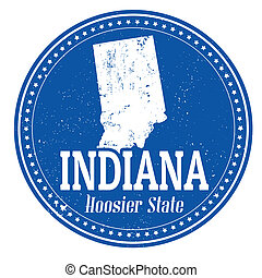 Indiana stamp - Vintage stamp with text Hoosier State ...
