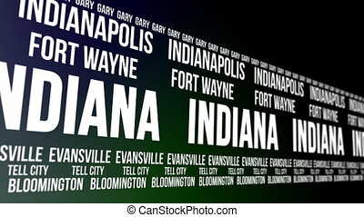 Indiana State and Major Cities - Animated scrolling banner...