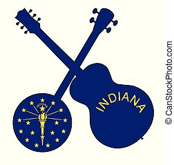 Indiana State Flag Banjo And Guitar Silhouette