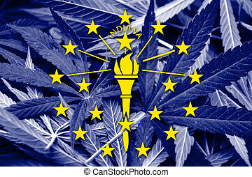 Indiana State Flag on cannabis background. Drug policy. ...