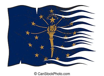 Indiana State Flag Wavy And Grunged