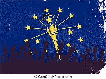 Indiana State Flag with Audience