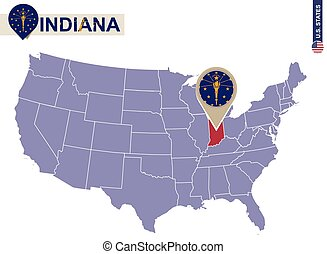 Indiana State on USA Map. Indiana flag and map.