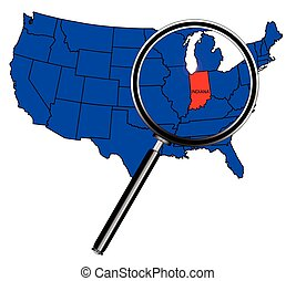 Indiana state outline set into a map of The United States of...