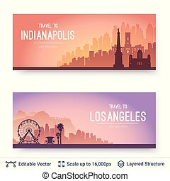 Indianapolis and Los Angeles famous city scapes. - Flat well...