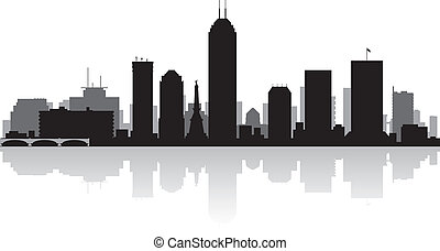 Indianapolis city skyline silhouette - Indianapolis USA city...