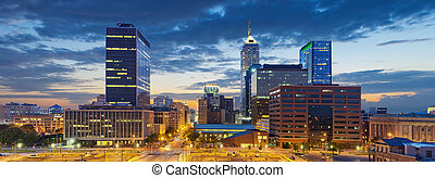 Image of Indianapolis skyline at sunset.