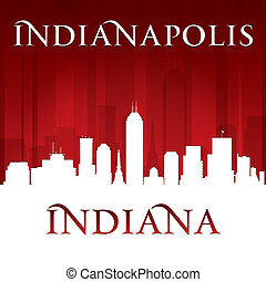 Indianapolis Indiana city skyline silhouette red background...