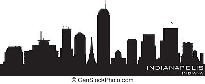 indianapolis, indiana, skyline., detalhado, vetorial,...