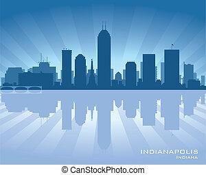 Indianapolis, Indiana skyline illustration with reflection...