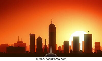 Indianapolis Indiana USA America Skyline Sunrise Take Off -...