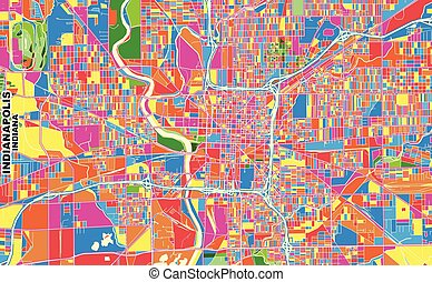 Indianapolis, Indiana, U.S.A., colorful vector map - ...