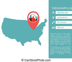 Indianapolis map infographic vector illustration