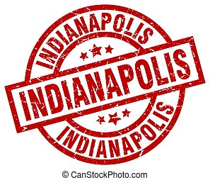 Indianapolis red round grunge stamp