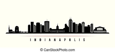 Indianapolis skyline horizontal banner. Black and white ...