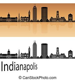 Indianapolis skyline in orange background in editable vector...