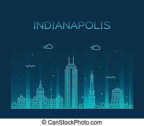Indianapolis skyline Indiana, USA vector line city
