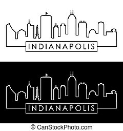 Indianapolis skyline. Linear style.