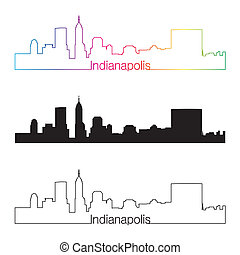 Indianapolis skyline linear style with rainbow in editable ...