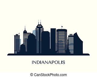 Indianapolis skyline, monochrome silhouette. Vector ...