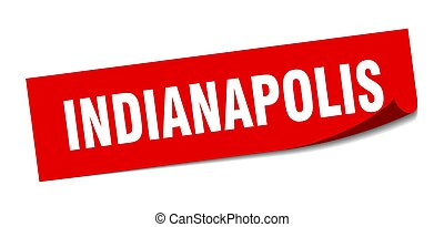 Indianapolis sticker. Indianapolis red square peeler sign