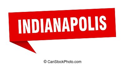 Indianapolis sticker. Red Indianapolis signpost pointer sign