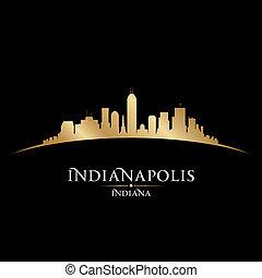 indianapolis, zwarte achtergrond, skyline, stad, indiana, ...