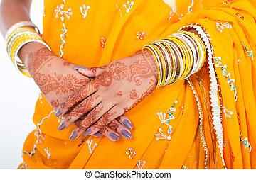 indianas, casório, noiva, mãos
