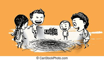indianas, cute, esboço, crianças, illustration., desfrutando, firecracker, diwali, celebrando, vetorial, desenhado, mão
