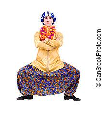 indianas, dançar, homem, retrato, comprimento, cheio