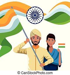 indianas, desenhos animados, étnico, pessoas