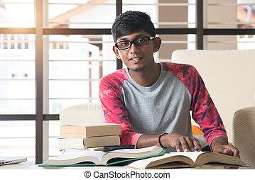 indianas, estudante universitário, dever casa