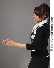 indianas, executiva, dar, mão, para, aperto mão, isolado, ligado, experiência colorida