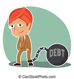 indianas, homem negócios, amarrada, com, dívida, ferro, bola