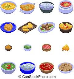 indianas, isometric, estilo, jogo, cozinha, ícones