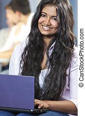 indianas, laptop, femininas, computador, asiático, estudante, usando