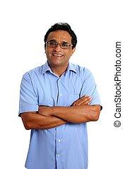 indianas, latim, homem negócios, óculos, camisa azul, branco