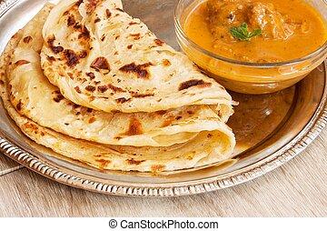 indianas, layered, paratha, pão plano