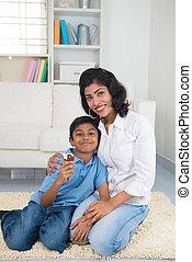 indianas, mãe filho, ligar