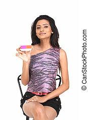 indianas, menina, com, cartão crédito