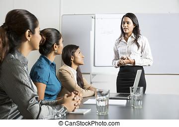 indianas, mulher, presentation., negócio